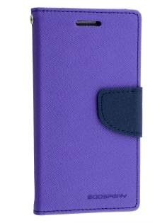 Mercury Goospery Colour Fancy Diary Case with Stand for Samsung Galaxy Alpha - Purple/Navy Leather Wallet Case