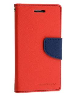 Mercury Goospery Colour Fancy Diary Case with Stand for Samsung Galaxy Alpha - Red/Navy Leather Wallet Case