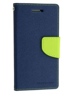 Mercury Goospery Colour Fancy Diary Case with Stand for Samsung Galaxy Alpha - Navy/Lime Leather Wallet Case