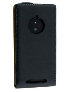 Nokia Lumia 830 Slim Genuine Leather Flip Case - Classic Black