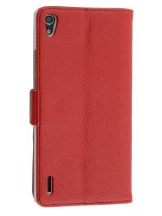 Synthetic Leather Wallet Case with Stand for Huawei Ascend P7 - Red Leather Wallet Case