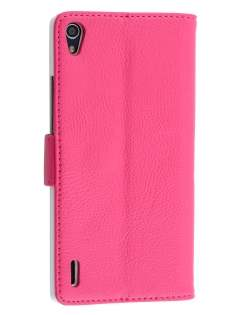 Synthetic Leather Wallet Case with Stand for Huawei Ascend P7 - Pink Leather Wallet Case