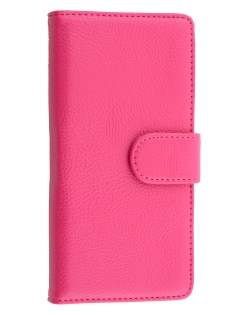 Huawei Ascend P7 Synthetic Leather Wallet Case with Stand - Pink