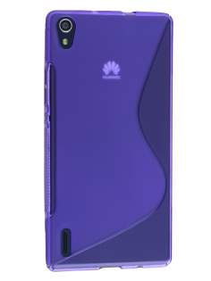 Wave Case for Huawei Ascend P7 - Frosted Purple/Purple Soft Cover