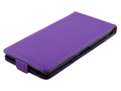 Sony Xperia Z3 Slim Genuine Leather Flip Case - Purple