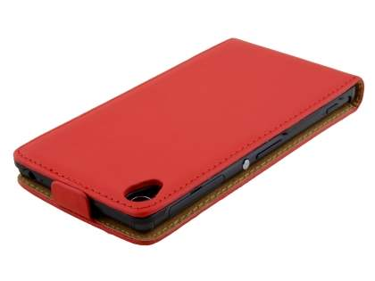 Sony Xperia Z3 Slim Genuine Leather Flip Case - Red