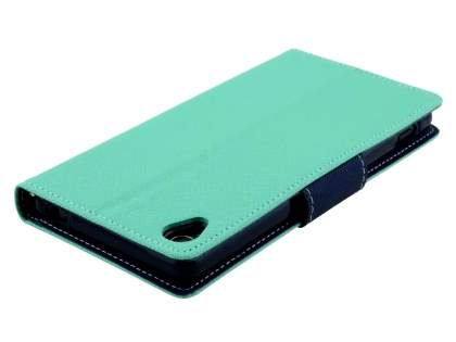 Mercury Goospery Colour Fancy Diary Case with Stand for Sony Xperia Z3 - Mint/Navy