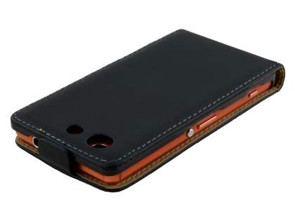 Sony Xperia Z3 Compact Slim Genuine Leather Flip Case - Classic Black