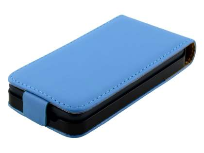 Nokia Lumia 530 Slim Genuine Leather Flip Case - Sky Blue