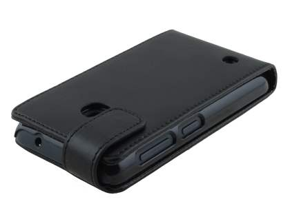 Synthetic Leather Flip Case for Nokia Lumia 530 - Classic Black