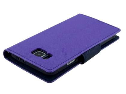 Mercury Colour Fancy Diary Case with Stand for Samsung Galaxy Alpha - Purple/Navy