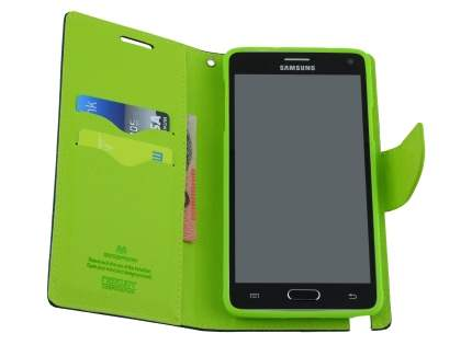 Mercury Colour Fancy Diary Case with Stand for Samsung Galaxy Note 4 - Navy/Lime