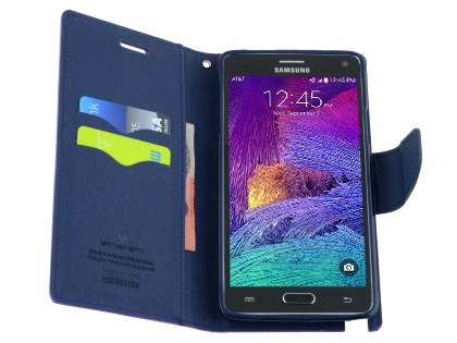 Mercury Colour Fancy Diary Case with Stand for Samsung Galaxy Note 4 - Purple/Navy
