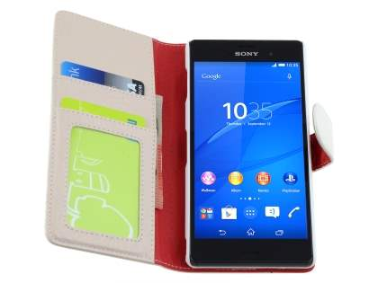 Synthetic Leather Wallet Case with Stand for Sony Xperia Z3 - Pearl White