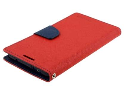 Mercury Colour Fancy Diary Case with Stand for Samsung Galaxy Note 4 - Red/Navy