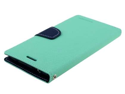 Mercury Colour Fancy Diary Case with Stand for Samsung Galaxy Note 4 - Mint/Navy