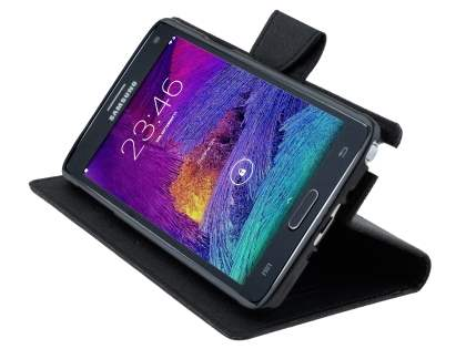 Mercury Colour Fancy Diary Case with Stand for Samsung Galaxy Note 4 - Classic Black