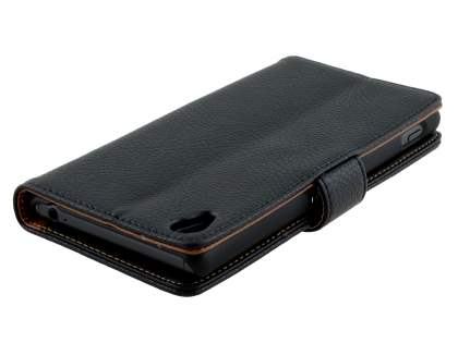 Sony Xperia Z3 Slim Synthetic Leather Wallet Case with Stand - Classic Black