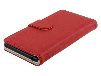 Synthetic Leather Wallet Case with Stand for Sony Xperia Z3 - Red
