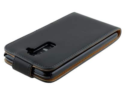 Synthetic Leather Flip Case for LG G2 - Classic Black