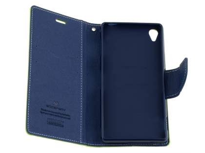 Mercury Colour Fancy Diary Case with Stand for Sony Xperia Z3 - Lime/Navy