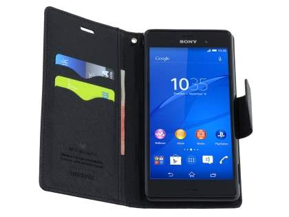 Mercury Colour Fancy Diary Case with Stand for Sony Xperia Z3 - Classic Black