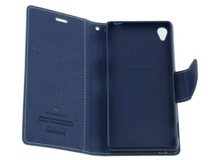Mercury Colour Fancy Diary Case with Stand for Sony Xperia Z3 - Mint/Navy