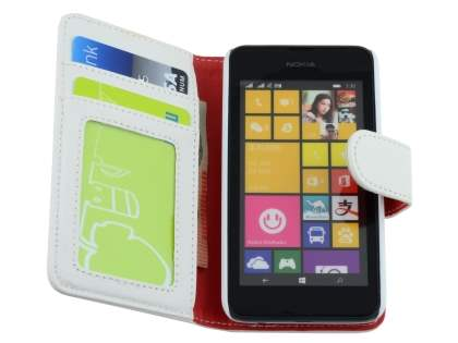 Nokia Lumia 530 Slim Synthetic Leather Wallet Case with Stand - Pearl White