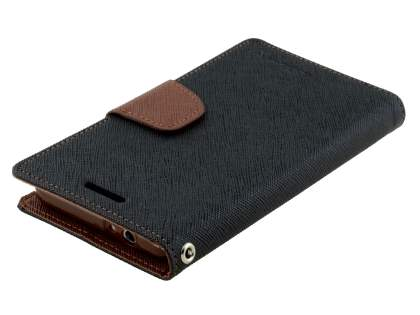 Mercury Colour Fancy Diary Case with Stand for Samsung Galaxy Alpha - Black/Brown