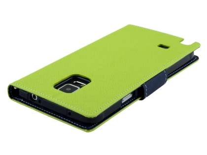 Mercury Colour Fancy Diary Case with Stand for Samsung Galaxy Note 4 - Lime/Navy