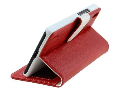 Huawei Ascend P7 Synthetic Leather Wallet Case with Stand - Red