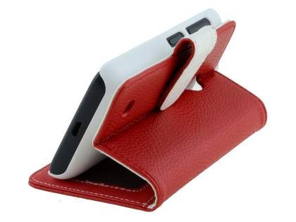 Nokia Lumia 530 Slim Synthetic Leather Wallet Case with Stand - Red
