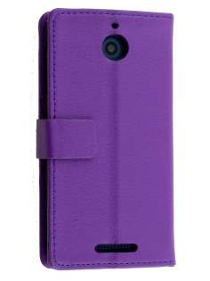 HTC Desire 510 Slim Synthetic Leather Wallet Case with Stand - Purple Leather Wallet Case