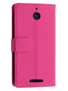 HTC Desire 510 Slim Synthetic Leather Wallet Case with Stand - Pink