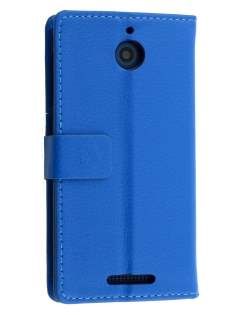 HTC Desire 510 Slim Synthetic Leather Wallet Case with Stand - Blue Leather Wallet Case