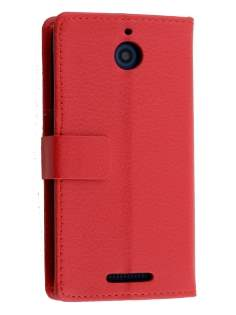 HTC Desire 510 Slim Synthetic Leather Wallet Case with Stand - Red Leather Wallet Case