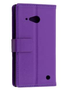 Synthetic Leather Wallet Case with Stand for Nokia Lumia 735 - Purple Leather Wallet Case