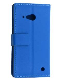 Synthetic Leather Wallet Case with Stand for Nokia Lumia 735 - Blue Leather Wallet Case