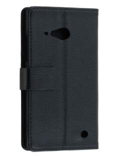 Synthetic Leather Wallet Case with Stand for Nokia Lumia 735 - Classic Black Leather Wallet Case