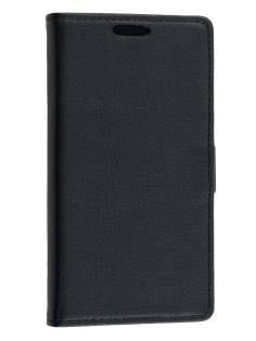 Nokia Lumia 735 Slim Synthetic Leather Wallet Case with Stand - Classic Black