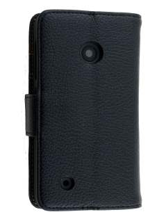 Synthetic Leather Wallet Case with Stand for Nokia Lumia 530 - Classic Black Leather Wallet Case