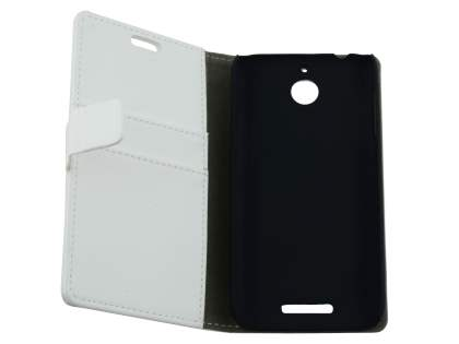 HTC Desire 510 Slim Synthetic Leather Wallet Case with Stand - Pearl White