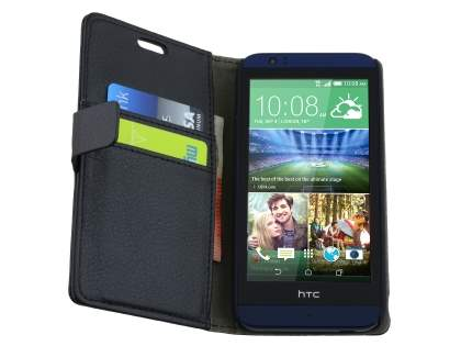 HTC Desire 510 Slim Synthetic Leather Wallet Case with Stand - Classic Black