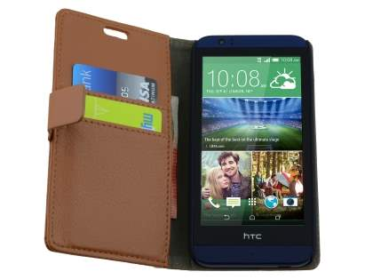 Synthetic Leather Wallet Case with Stand for HTC Desire 510 - Brown