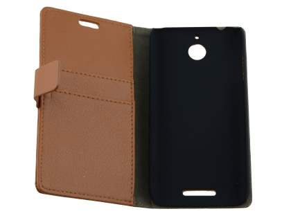 HTC Desire 510 Slim Synthetic Leather Wallet Case with Stand - Brown