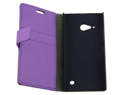 Synthetic Leather Wallet Case with Stand for Nokia Lumia 735 - Purple