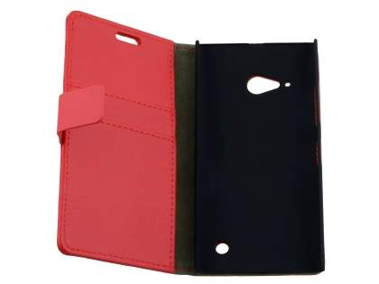 Nokia Lumia 735 Slim Synthetic Leather Wallet Case with Stand - Red