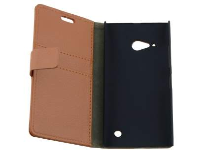 Nokia Lumia 735 Slim Synthetic Leather Wallet Case with Stand - Brown