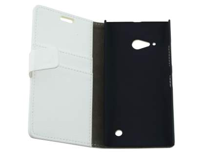 Synthetic Leather Wallet Case with Stand for Nokia Lumia 735 - Pearl White