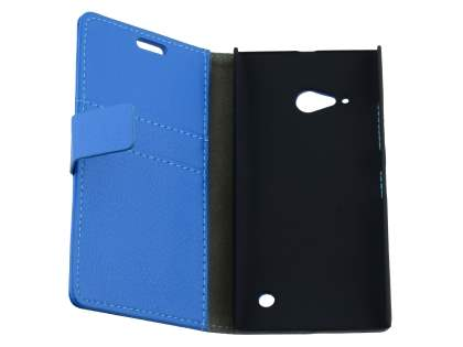 Nokia Lumia 735 Slim Synthetic Leather Wallet Case with Stand - Blue